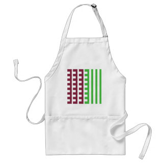 Burgundy and Green Combs Tooth Adult Apron