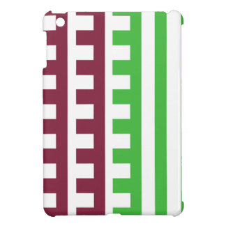 Burgundy and Green Combs Tooth iPad Mini Cover