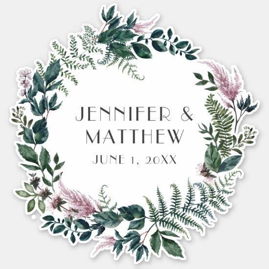 Burgundy and Green Floral Wreath Wedding Sign   Sticker