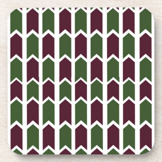Burgundy and Green Panel Fence Beverage Coaster