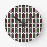 Burgundy and Green Panel Fence Round Wallclocks