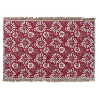 Burgundy and Grey Floral Throw Blanket