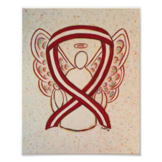 Burgundy and Ivory Awareness Ribbon Angel Posters