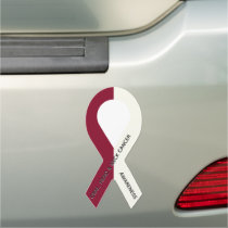 Burgundy and Ivory Cancer Awareness Ribbon Car Magnet