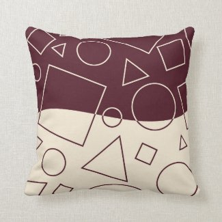 Burgundy and Ivory Geometric Shape Wave Modern Throw Pillow