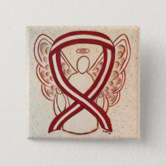 Burgundy and Ivory Ribbon Awareness Angel Pin