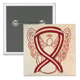 Burgundy and Ivory Ribbon Awareness Angel Pin