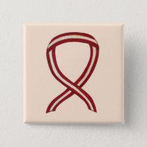 Burgundy and Ivory Ribbon Awareness Custom Pin