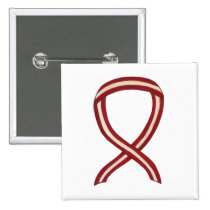 Burgundy and Ivory Ribbon Awareness Custom Pin