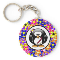 Burgundy and Ivory Ribbon Penguin Keychain