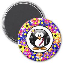Burgundy and Ivory Ribbon Penguin Magnet