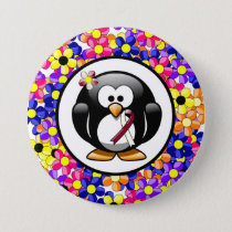 Burgundy and Ivory Ribbon Penguin Pinback Button