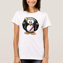 Burgundy and Ivory Ribbon Penguin T-Shirt