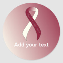 Burgundy and Ivory Ribbon Support Awareness Classic Round Sticker