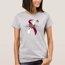 Burgundy and Ivory Ribbon with Butterfly T-Shirt