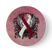 Burgundy and Ivory Ribbon with Wings Button