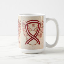 Burgundy and Ivory Stripe Awareness Angel Art Mug