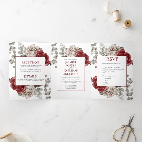 Burgundy and Ivory Watercolor Roses Wedding   Tri-Fold Invitation