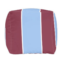 Burgundy and Light Blue Striped Outdoor Pouf