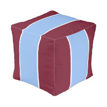Burgundy and Light Blue Striped Pouf