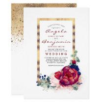 Burgundy and Navy Blue Floral Gold Frame Wedding Invitation