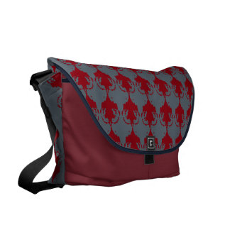 Burgundy and Navy Chandelier Courier Bag