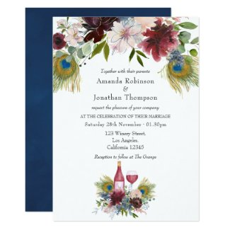 Burgundy and Navy Peacock Wine Themed Wedding Invitation
