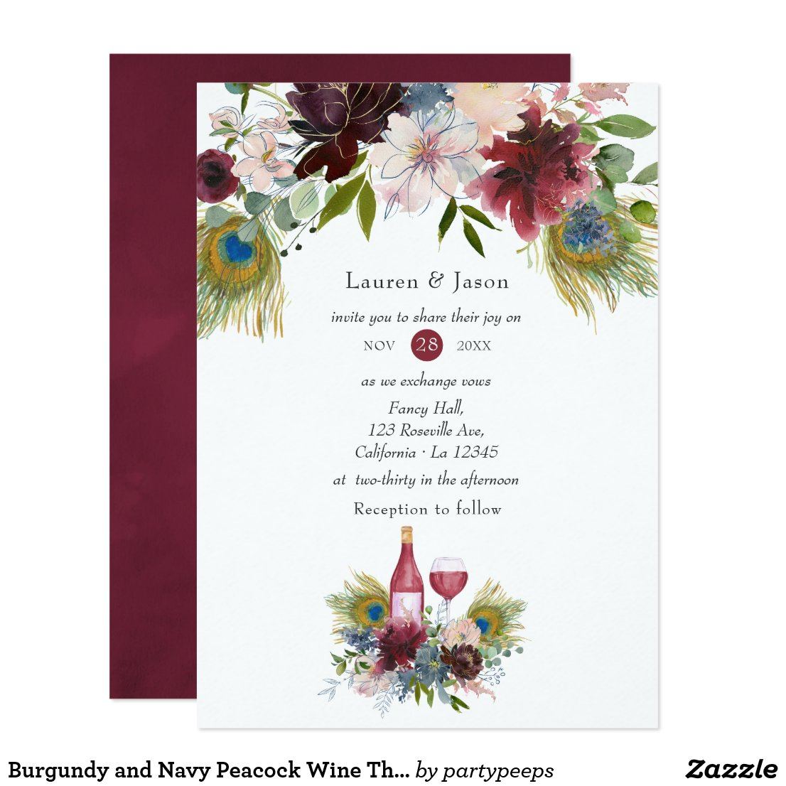 Burgundy and Navy Peacock Wine Themed Wedding Invitation