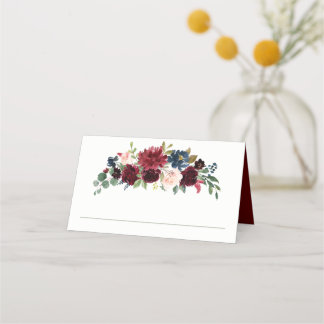 Burgundy and Navy Watercolor Floral Place Card