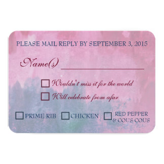 Burgundy and Navy Wedding RSVP with Meal Options 3.5x5 Paper Invitation Card