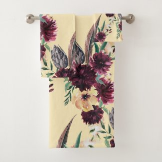 Burgundy and Peach Contemporary Floral Bath Towels