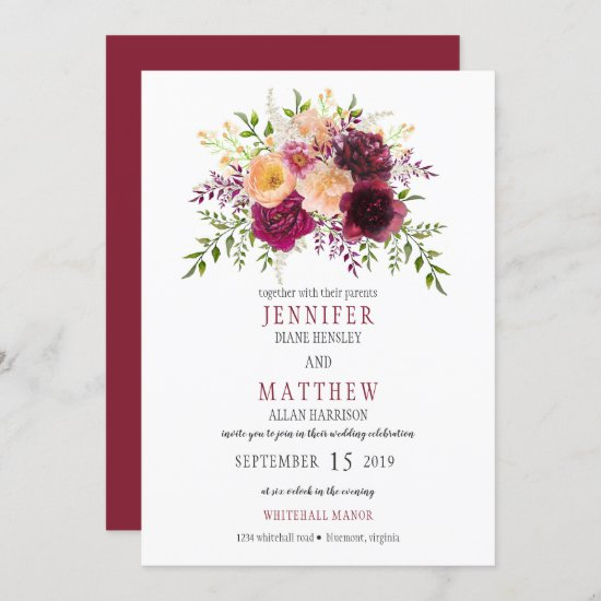 Burgundy and Peach Watercolor Floral Wedding | Invitation