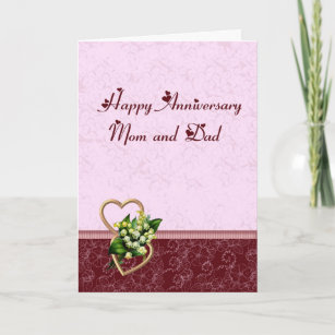 Happy mom and dad anniversary cards zazzle burgundy and pink anniversary mom and dad card m4hsunfo