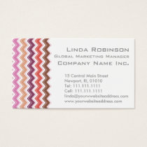 Burgundy and Pink Chic Chevron ZigZag Tribal Business Card