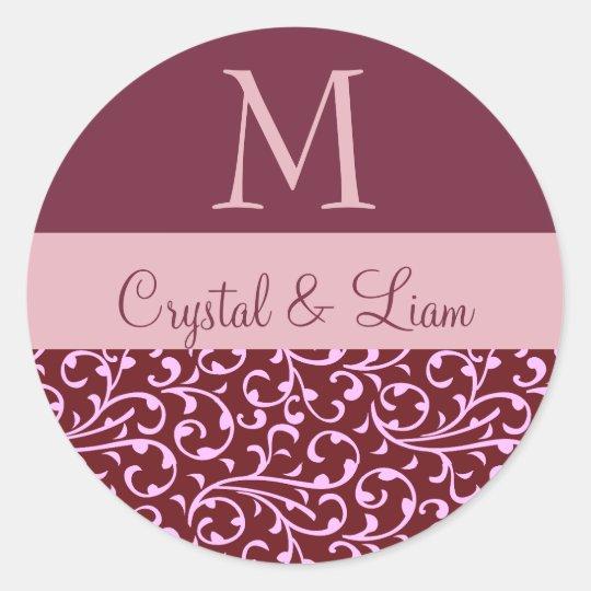 BURGUNDY and PINK Damask Wedding Monogram Classic Round Sticker