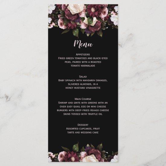 Burgundy and Pink Floral Bouquet Wedding Menu