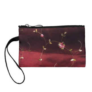 Burgundy And Pink Floral Satin Coin Purse