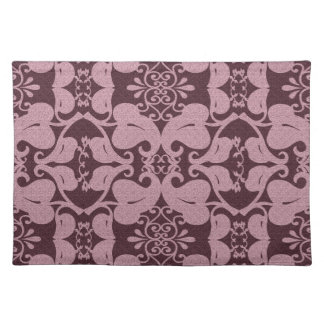 Burgundy And Pink Modern Elegant Leaf Pattern Placemats