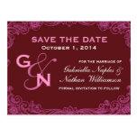 Burgundy and Pink Swirl Save Date Postcard V006