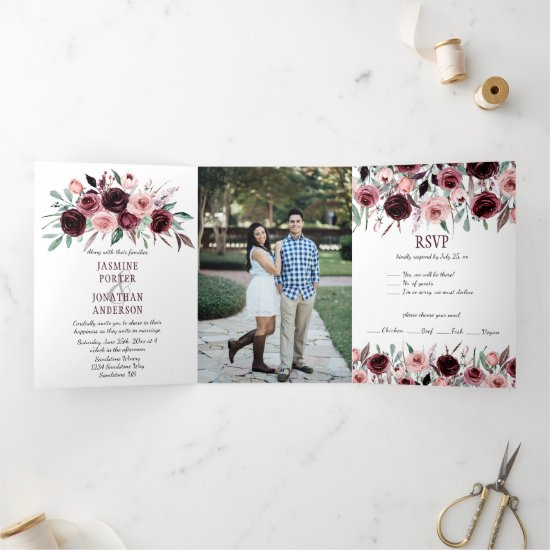 Burgundy and Pink Watercolor Roses Photo Wedding Tri-Fold Invitation