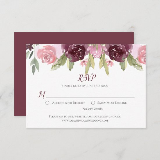 Burgundy and Pink Watercolor Roses RSVP Card