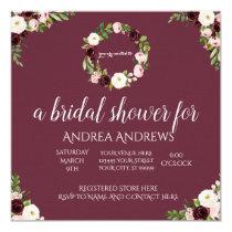 Burgundy and Rose Floral Bridal Shower Invitation