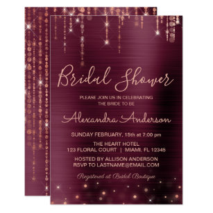 208e7e40913a Burgundy and Rose Gold Bridal Shower Invitation