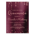Burgundy and Rose Gold Quinceanera Party Magnetic Invitation