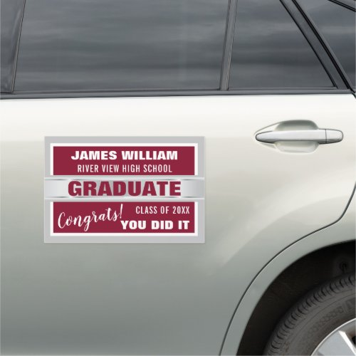 Burgundy And Silver Congrats Graduate 2020 Car Magnet