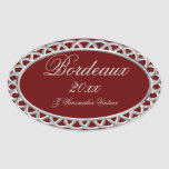 Burgundy and Silver Homemade Wine Label Oval Sticker