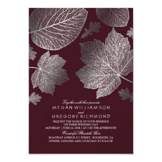 Burgundy and Silver Leaves Vintage Fall Wedding Invitation
