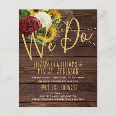 Burgundy and Sunflowers Themed Wedding Budget
