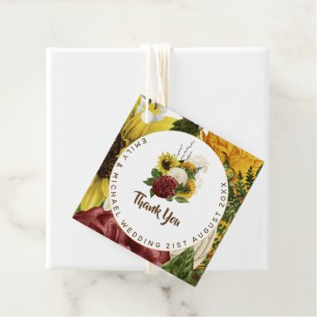Burgundy and Sunflowers Themed Wedding Budget Favor Tags