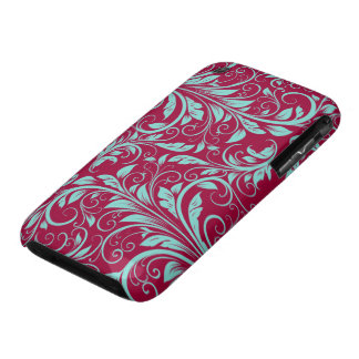 Burgundy and Teal Blue Damask iPhone 3 Covers